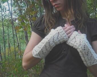 Fingerless Gloves, Ivory Lace Fingerless Gloves, White Fingerless Gloves, Knit Fingerless Gloves, White Wedding Gloves, Mori Girl