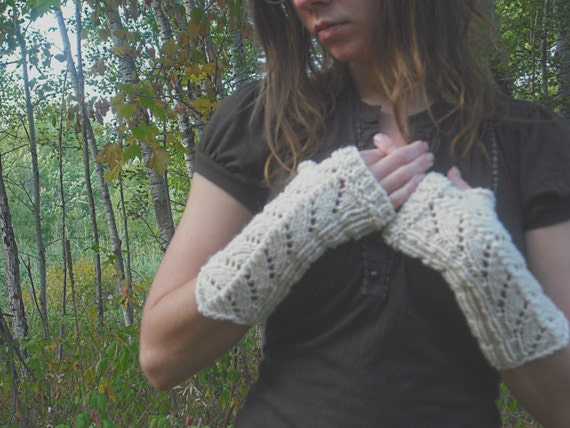 Fingerless Gloves, Ivory Lace Fingerless Gloves, White Fingerless Gloves, Knit Fingerless Gloves, White Wedding Gloves, Mori Girl