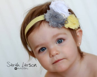 baby girl headbands..grey and yellow headband..girls yellow headband..