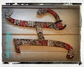 "Monogram Wooden Letter ""H"" 24"" with Rustic Horse Shoe and Turquoise Beads"