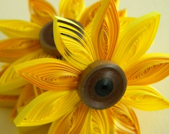 Sunflower favors - set of 5, paper sunflowers