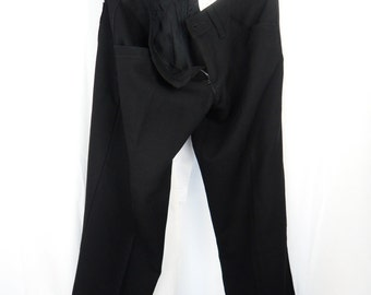 90s Junya Watanabe/COMME DES GARCONS black wool/poly crepe cropped low rise cigarette capri pants/ Made in Japan: size US6-8