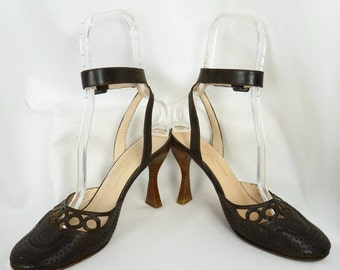 90s STEPHANE KELIAN /made in Paris France cut out brown ankle strap d'orsay heels/ brouging/court heel: US 9.5/EU41/UK7