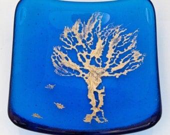 Autumn glass dish