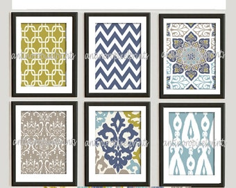 Blue Khaki Green ikat Damask Print Wall Art Prints Modern Inspired  - Set of 6 - 8x10 Prints (UNFRAMED)