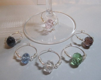 Multi-Colored Faceted Rondelle Glass Bead Wine Charms