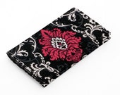 Business card holder, small wallet, business card wallet, gift card case - maroon red and black damask