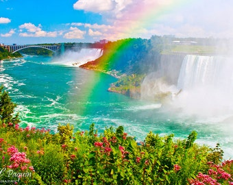 Niagara Falls Rainbow PRINT Photo Picture Photograph Landscape Home Wall Decor Honeymoon Anniversary gift for husband wife him her Canada