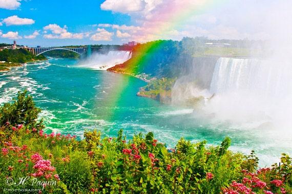 Niagara Falls Rainbow - Fine Art Photograph - Seen from the Canadian side - Home Wall Decor - Honeymoon, anniversary gift - Ontario, Canada