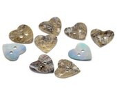 5 Mother of Pearl Shell Heart Buttons - 15mm - 2 Hole - Heart Shell Button