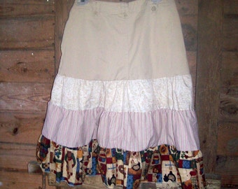 Upcycled women's autumn jean skirt