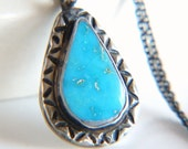 Sterling Silver Rustic Turquoise Teardrop Pendant Necklace