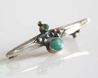 Vintage Sterling Silver Malachite Bar Pin