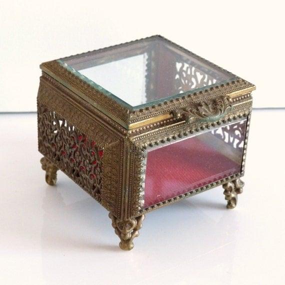 Vintage Beveled Glass and Brass Filigree with Red Velvet Jewelry Trinket Box - Jewlery Casket