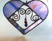 periwinkle purple blue stained glass heart, curly wire, beads-mother's day, father's day, graduation, teacher, best friend or any day gift