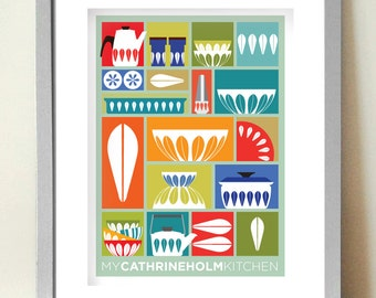 Kitchen Wall Art, Cathrine Holm, Mid century Modern, Kitchen Decor, Retro Kitchen Poster, Gift for Cooks, Cooking art, Scandinavian design