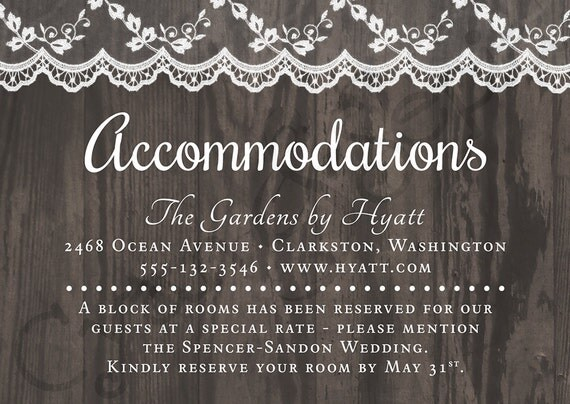 Wedding Invitation Accommodation Insert Wording: Printable Wedding Invitation Accommodations Card 3.5x5