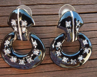 Vintage Rhinestone Earrings, With Black Enamel on Silver Tone Base, Post Style.