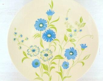 Vintage Retro Blue Floral Dinner Plates-Set of 4