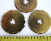 Steampunk Supplies No. CPG17 Lot of 3 Large Vintage Brass Clock Gears