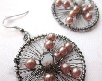 Round Wire Earrings- Gunmetal Wire, Purple Grey, Wire Wrapped, Wire Jewelry, Beadwork, Dangle Earrings