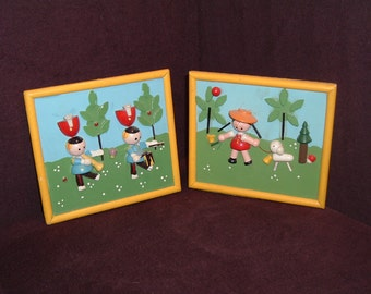 Vintage 3-D painted children's wooden plaques made in Japan