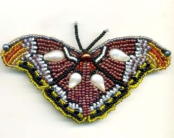 Butterfly Brooch of Pearl and Burgundy beads