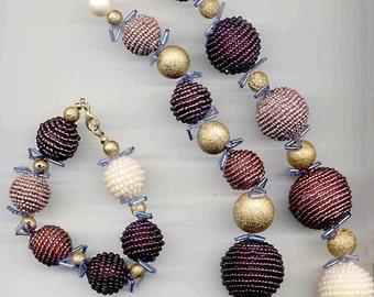 Mauve, Gold and Pearl Parure Set