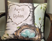 Cotton Wedding Gift - Personalized Wedding Gift - Choose Names and Eggs - 16 x 16 Inches - Cotton Sateen Decorative Pillow Cover