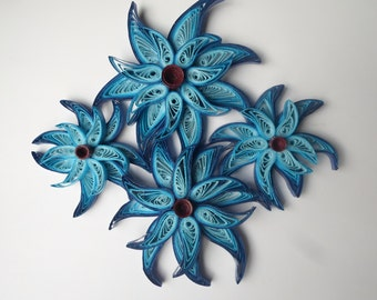 Fantasy blue flowers wall art Whimsical star flowers wall hanging Paper art