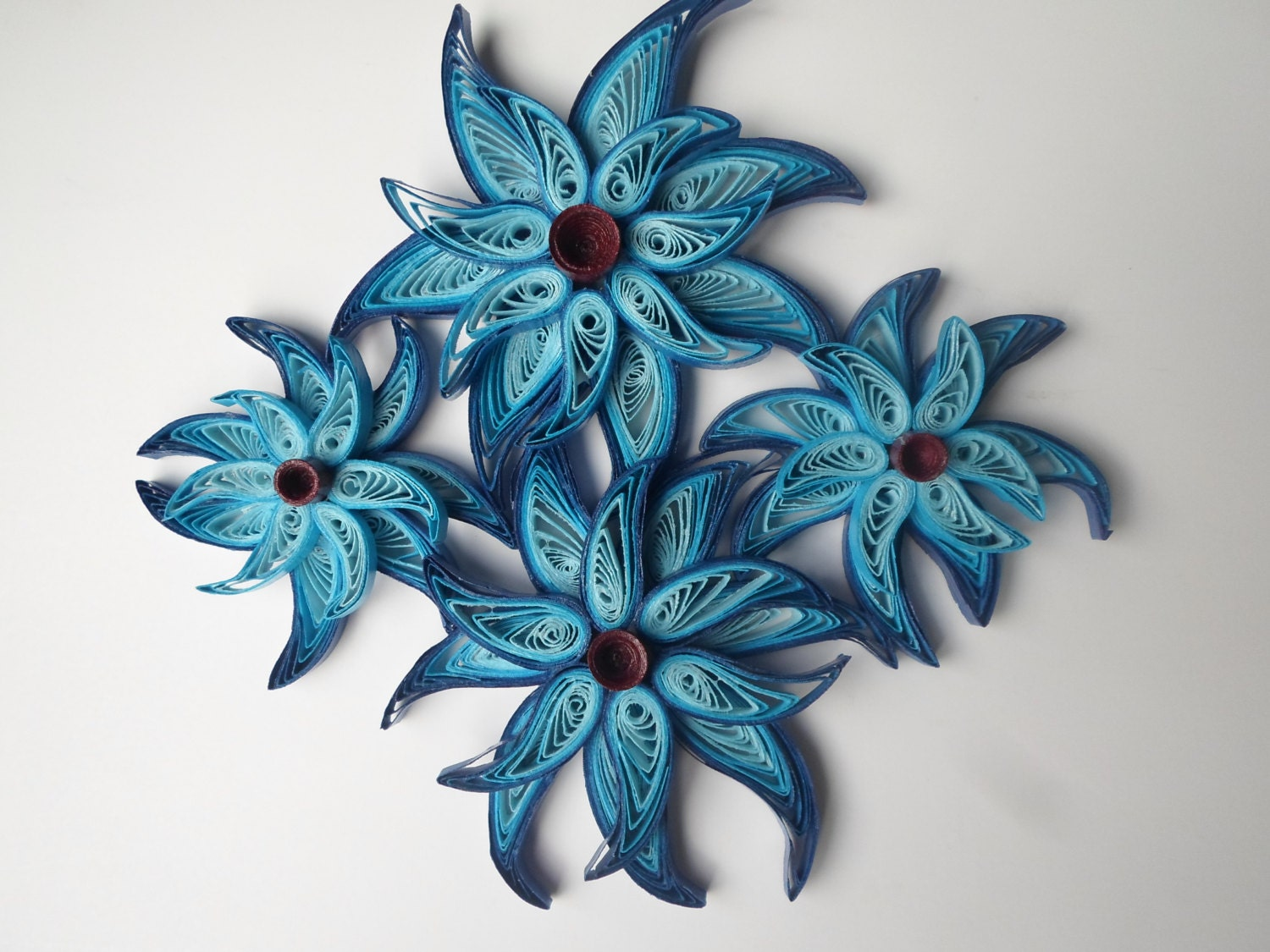 Fantasy blue flowers wall art Whimsical star flowers wall