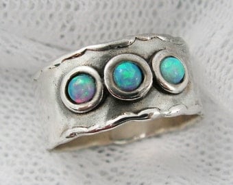Sterling silver opal ring. Wide silver ring. Wide opal ring. birthday gift, romantic gift ideas, opal jewelry (sr-9531-587).