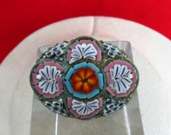 Vintage Italian Micro Mosaic Floral PIn