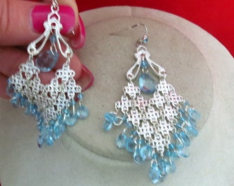 Silvertone Blue Plastic Beaded Dangle Earrings