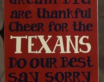"In This House We...Cheer for the TEXANS Inspirational Sign 12"" x 24"" SignsbyDenise"