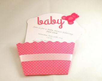 Teddy Cupcake Baby Shower Invitation in Pink with Custom Wording