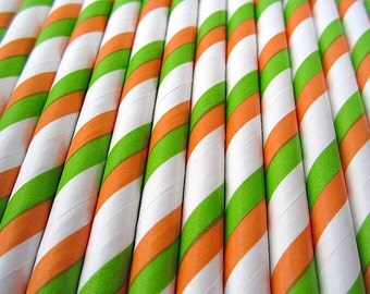 Green and Orange Duo Striped Paper Straws