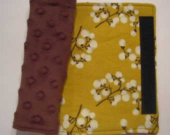 Car Seat Strap Covers - Yellow Floral and Minky Reversible