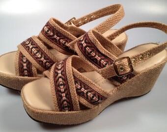 1970s Vintage, Women's PLATFORM Shoes, Never Worn, Woven Jute, Vintage platforms, Hippie Style, Size 8 5 B NEW Old Stock