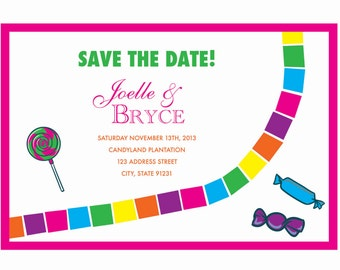 CandylandThemed Save the Date Postcard