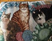 Vintage Cat Lady Tapestry Pillow