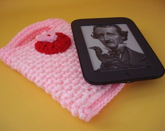 Nook Simple Touch cover Case Sleeve Jacket Bag - Handmade Crochet - Be My Valentine