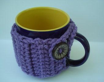 Mug Cozy - Mug Warmer - Mug Hug - handmade crochet - Lavender