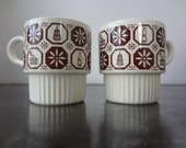 Set of Two Vintage Stacking Coffee Mugs - Cream and Cocoa