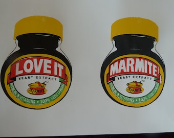 "Hand pulled A3 silk screen print of Marmite 'LOVE IT"" ""MARMITE"""