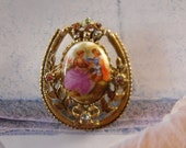VIintage CORO CAMEO Limoge Brooch, 1930s, French Limoges, Courting Couple, Victorian Vintage, Nouveau