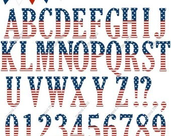 4th of July Digital Alphabet Clip Art Set - blue white red printable clipart - instant download