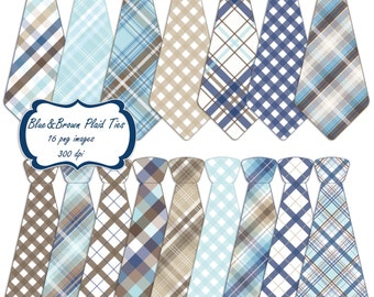 Necktie clip art set - blue brown plaid printable digital clipart - instant download