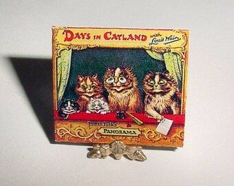 Dollhouse Miniature Book DAYS in CATLAND by Louis Wain - Raphael Tuck & Sons - One Inch Scale Dollhouse Panorama Childrens Nursery Book
