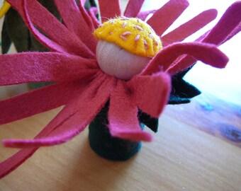 Pink Peg Doll Flower Fairy, Small Pink Daisey Flower, Waldorf Inspired, Wool Felt Flower Fairy